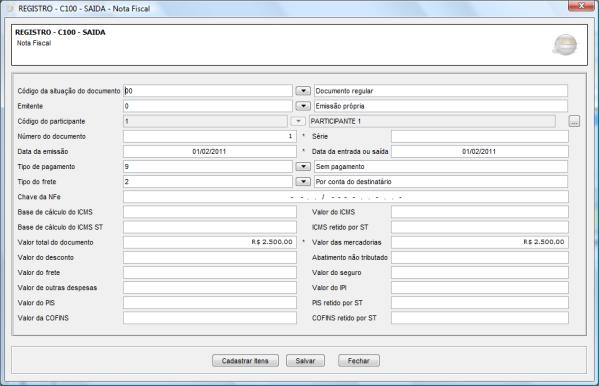 Registro C100 EFD
