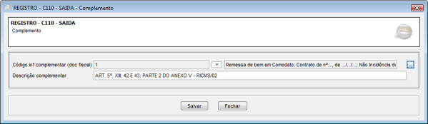 Registro C110 EFD