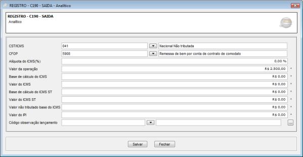 Registro C190 EFD